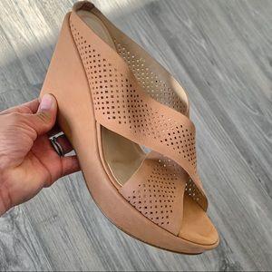 VanEli Tan Perforated Wedge Sandals